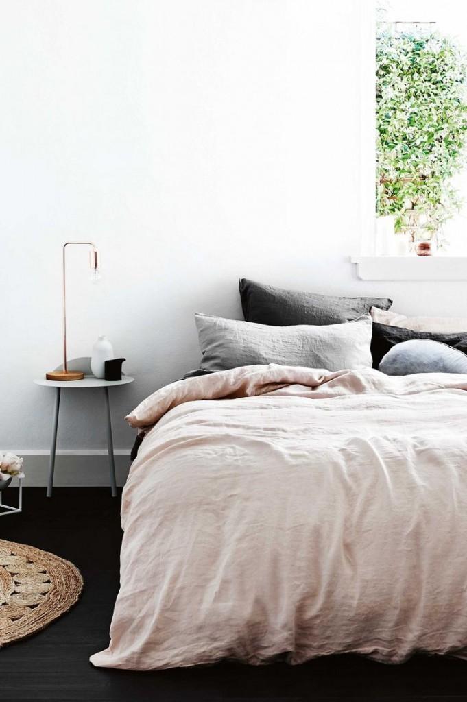 Dormitorio de estilo nórdico dusty pink