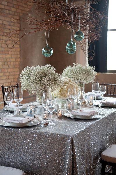 decorar la mesa de Nochevieja con lentejuelas