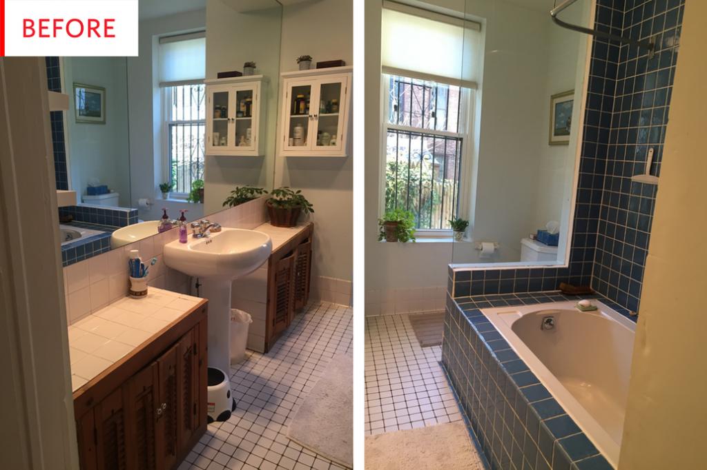 Antes y después - un baño luminoso y actual