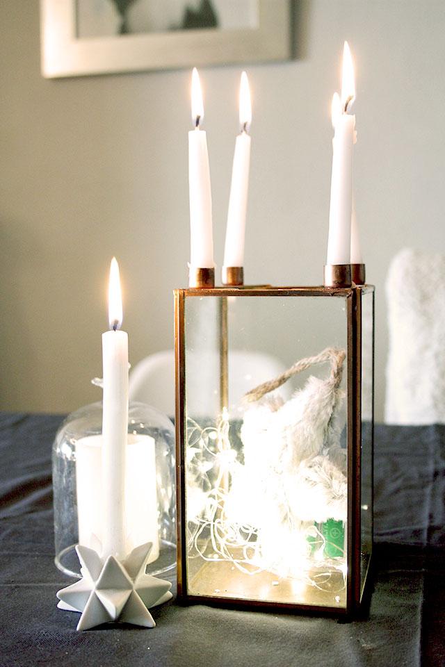 Navidad dorada y gris candelabro