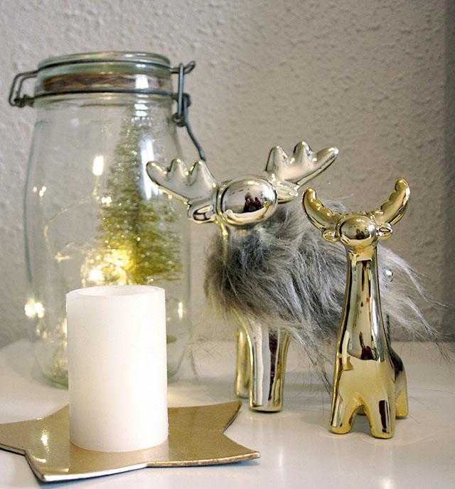 Navidad dorada y gris renos