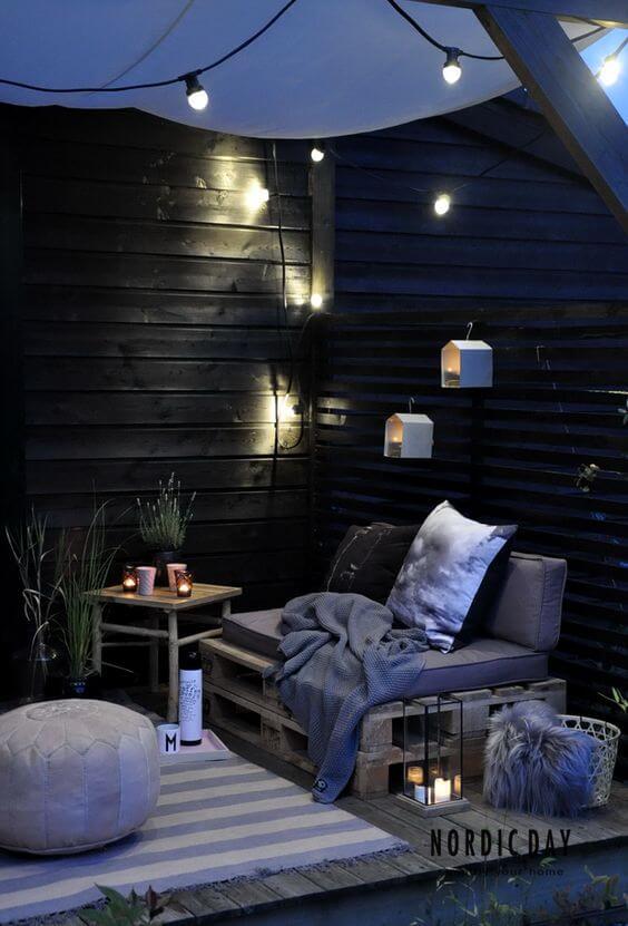 Decorar una terraza con estilo nórdico iluminacíón