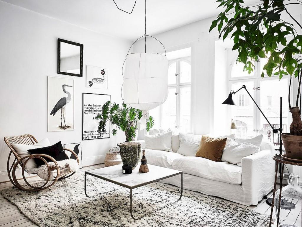 Decorar salón con estilo nórdico lámparas
