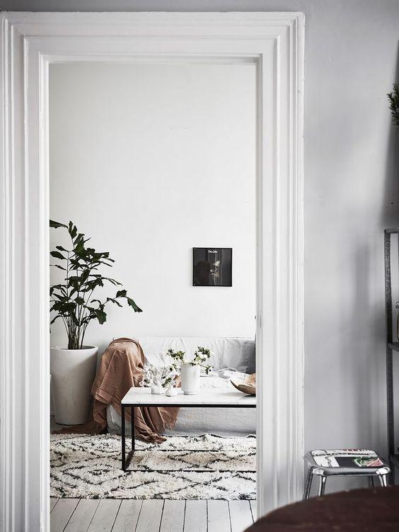 decorar rincón de un salón de estilo nórdico
