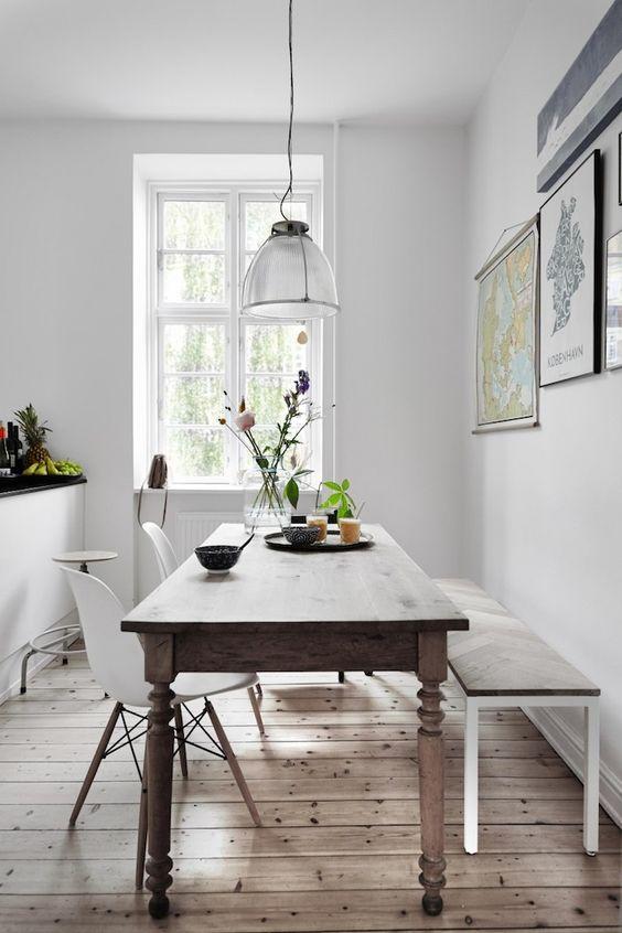 decorar con estilo nórdico y mesas rústicas