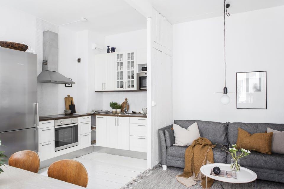 estilo nórdico en 42 metros cocina