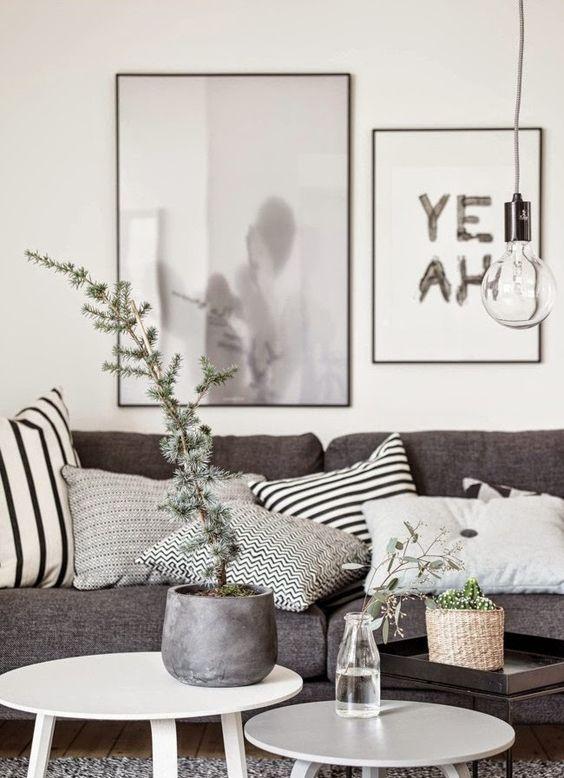 decoración nórdica con ramas de invierno