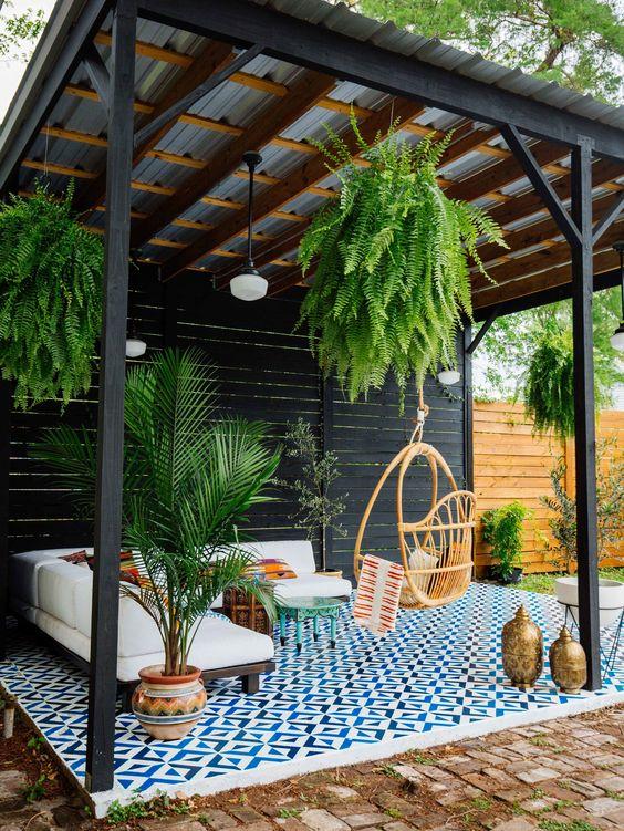 Deoración de exteriores con alfombra