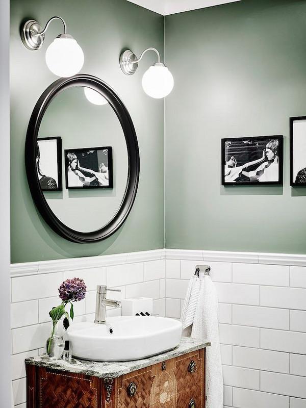 Sage green en baños