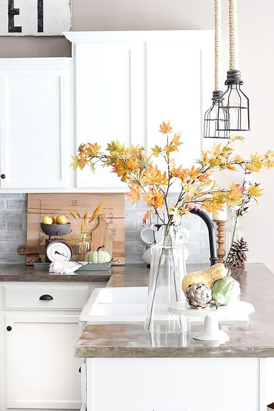 decoración otoñal flores