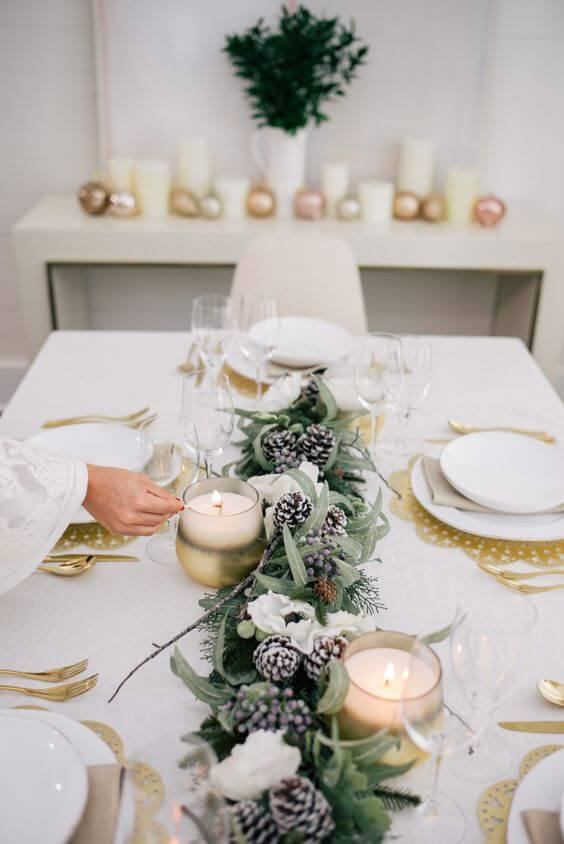 mesa navideña natural