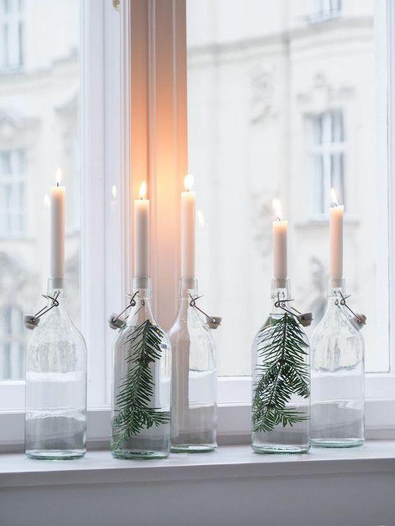 decorar en Navidad con botellas