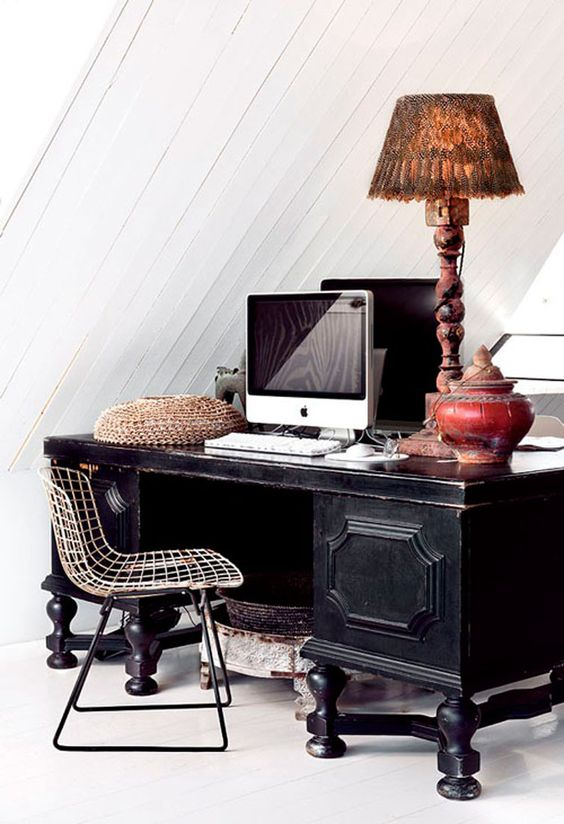 decorar zona de trabajo vintage
