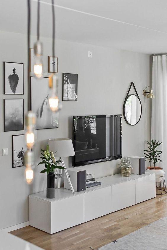 decorar mueble de televisión nórdico