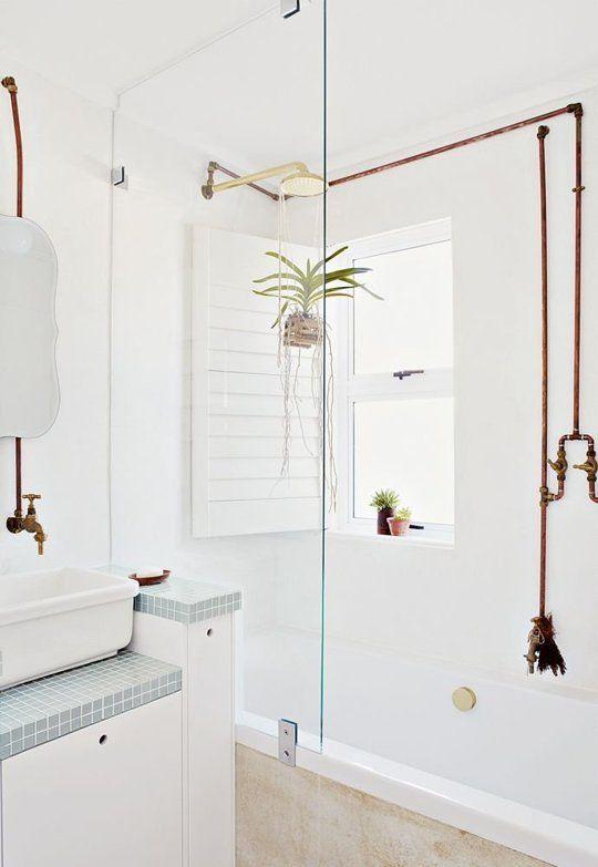 tendencias en baños tuberías vistas