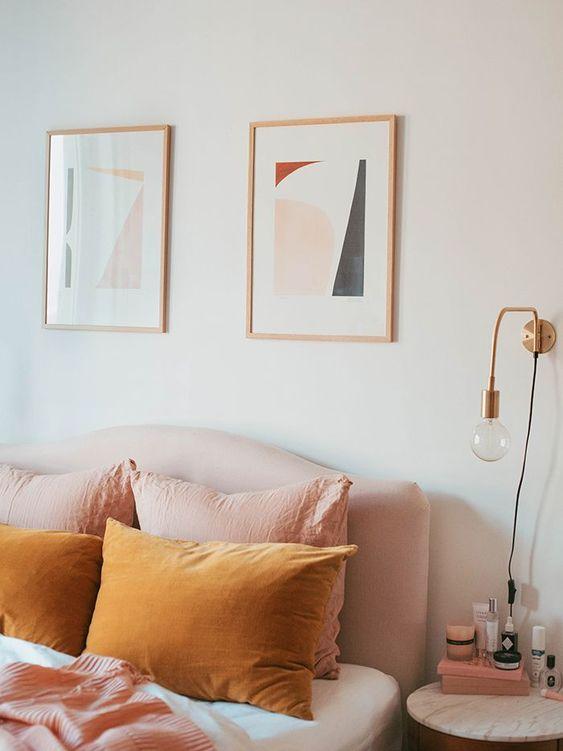dormitorio mostaza y rosa