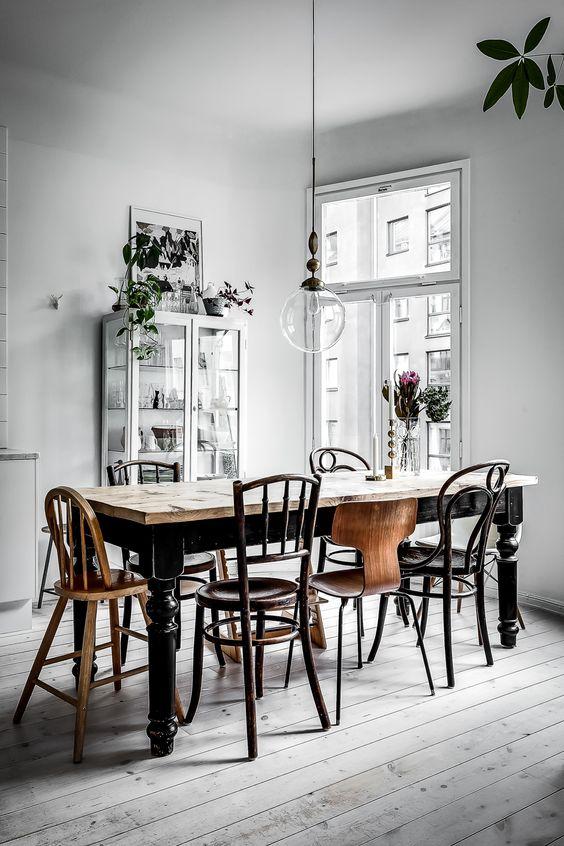 comedor de estilo nórdico sillas
