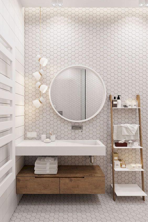 azulejos hexagonales en baños nórdicos
