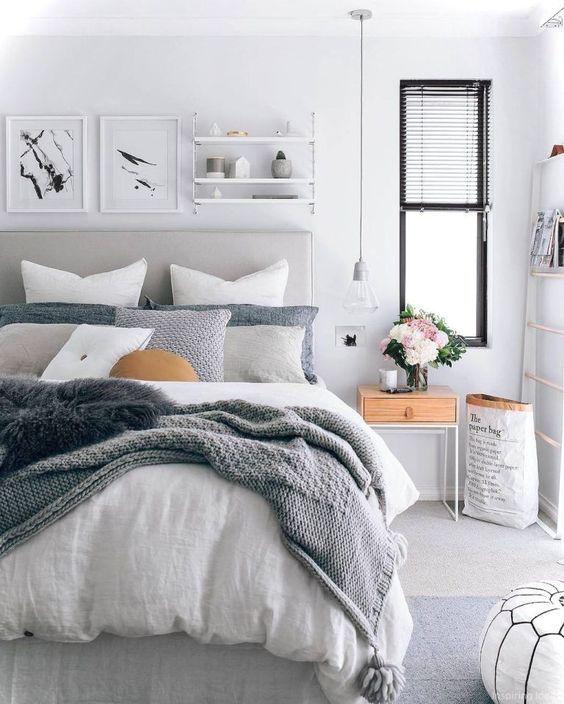 dormitorio nórdico con color