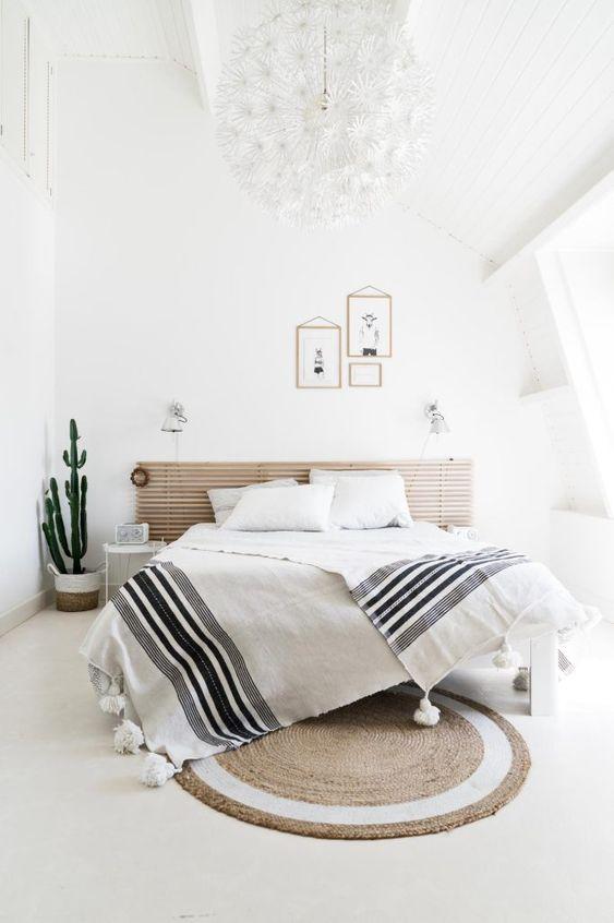 dormitorio nórdico y cactus