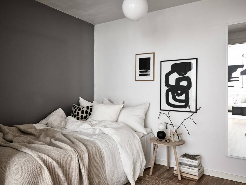 Dormitorio en beige y negro
