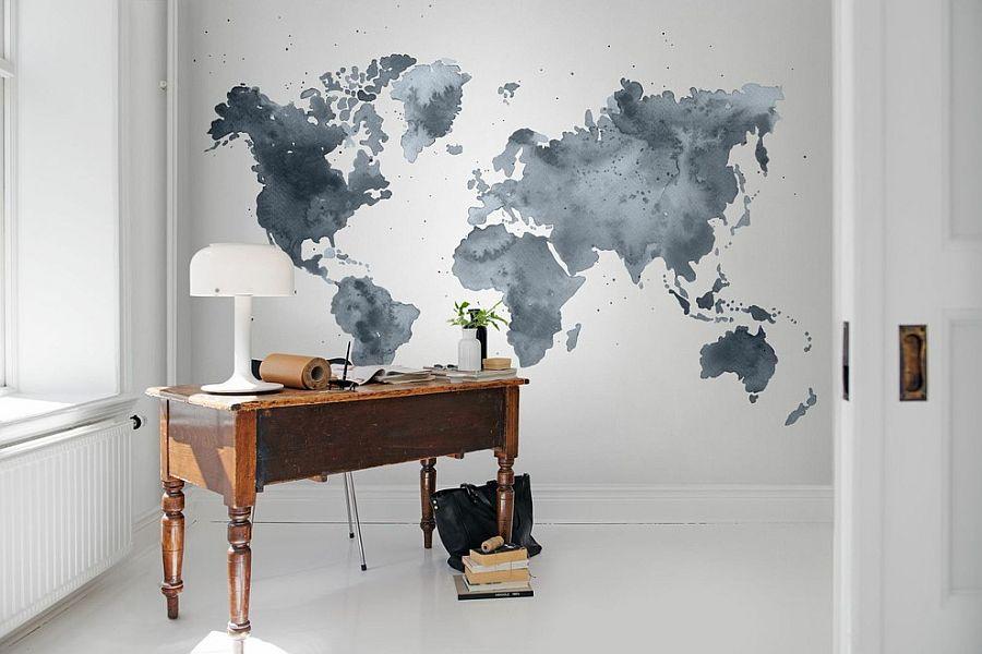 zona de trabajo con mural
