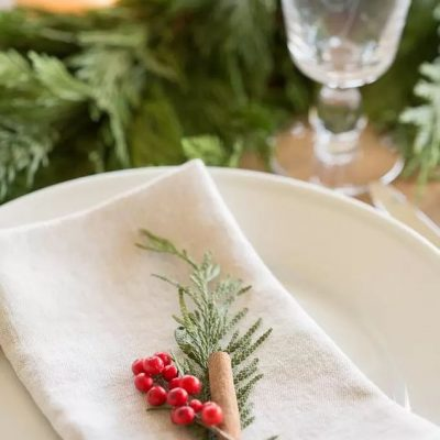 mesa navideña en rojo y verde